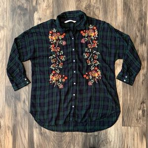 Zara XL Trafaluc Collection embroidered flannel